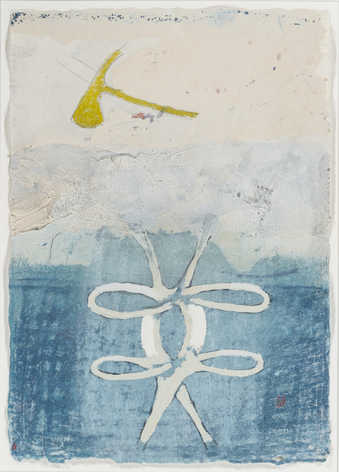 biomorphic forms on a blue and white field