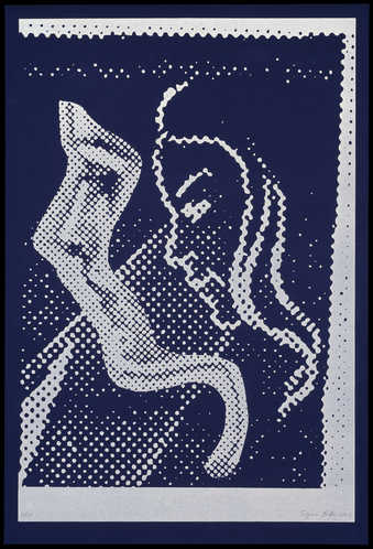 Two profiles of a woman in ben-day dots, printed on a sheet of blue suede paper and on a sheet of...