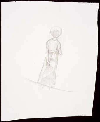 An image of a standing female figure with her back to the viewer