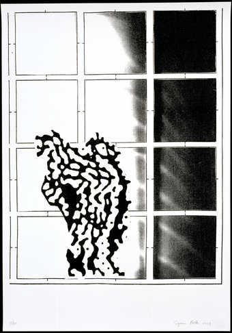 An abstracte black and white form in front of a 12 pane window.