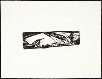 black and white woodcut on paper