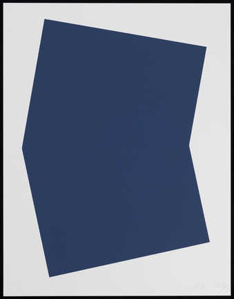 A solid dark blue geometric shape