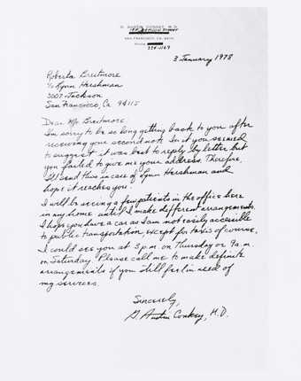 Photograph of letter to Roberta regarding making a doctor&amp;#x27;s appointment. From G. Austin...