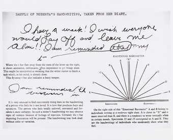 Photograph of hand writing analysis.