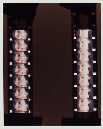 Photograph of two strips of film showing the artist transforming into Roberta.