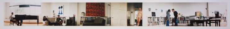 panoramic view of an art gallery/apartment with figures; cassette contains sounds from this...