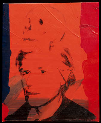 Portrait of Warhol with a skull emerging from the top of his head.
