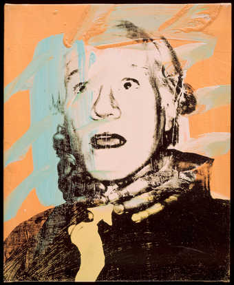 Portrait of Warhol with two hands clenched around his neck.