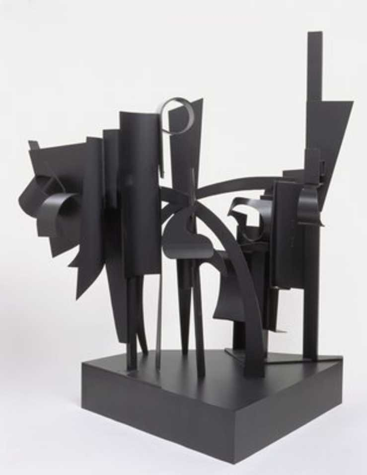 a black painted aluminum structure