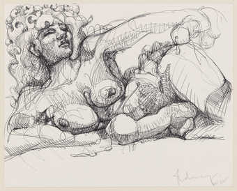 A line drawn image of a reclining nude woman holding a phallus in one hand.