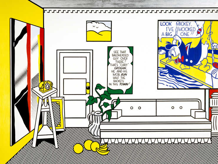 Room interior with Lichenstein paintings on the wall;