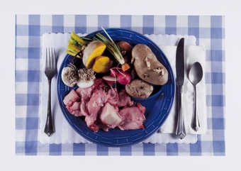 An image of a plate of waste food; sprouted potatoes, carrot tops, bones and sinew, radish roots,...