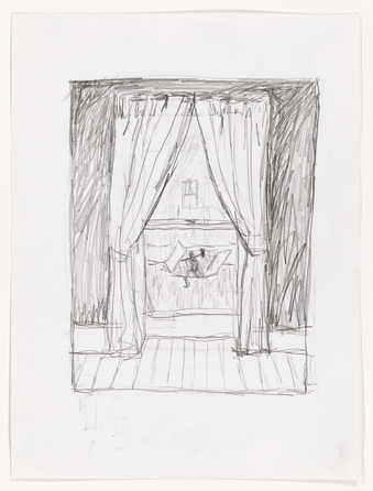 A drawing of an interior window, through which a figure yielding an ax is visible emerging from a...