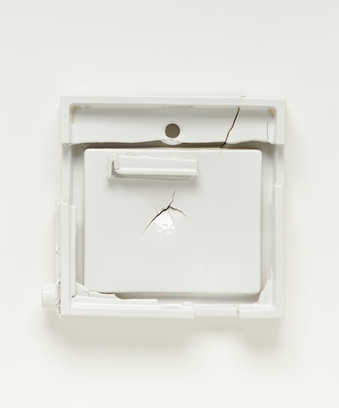 A porcelain modified sink form created by the artist during a residency at the Kohler Foundry.