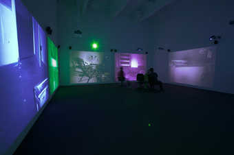 Seven projections of footage shot with infrared cameras of the artist's studio at night. ...