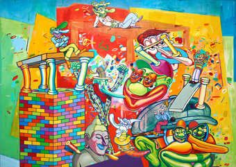A brightly colored cartoon-like figurative landscape containing images of the artists personal...