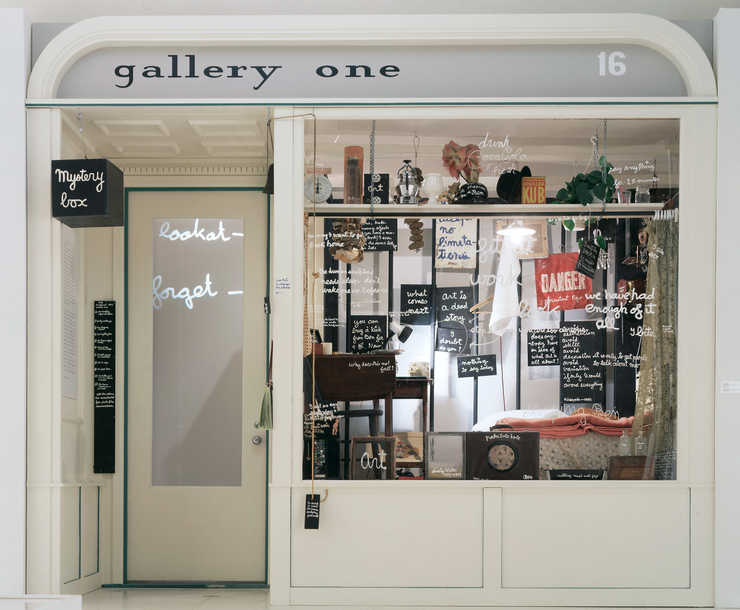 A reproduced store front. Originally produced as Living Sculpture for Festival of Misfits,...