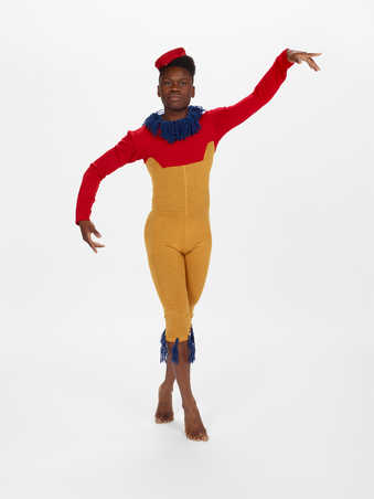 CDF2-6COSTUMES: Mustard colored wool body suit with red top and blue yarn accents, black wool...