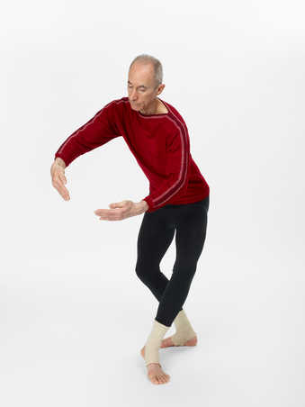COSTUMES: Long sleeve sweaters in saturated solid colors; black footless tights (some with...
