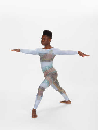 COSTUMES: Long sleeve scoopneck leotards printed with designs of lower Manhattan and the...