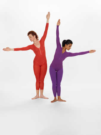CDF2-21COSTUMES: Long sleeve leotards in a variety of solid colors, with a variety of neck lines...