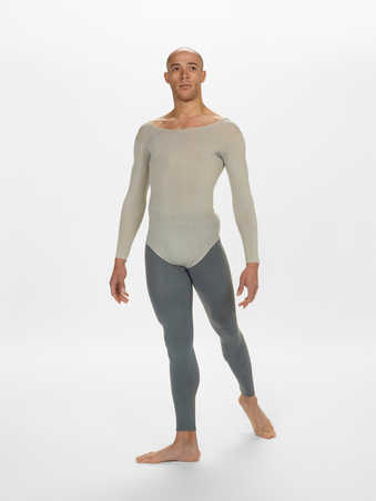COSTUMES: Long sleeve scoop neck leotards in various shades of light, dark, and blueish gray....