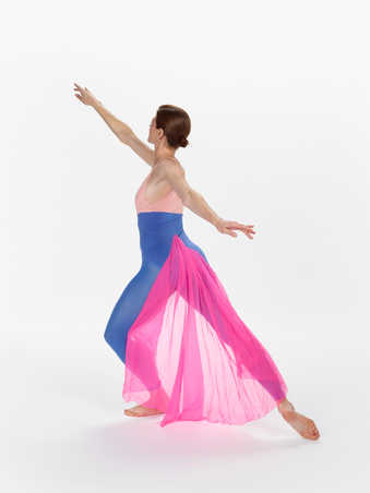 SECOND VERSION COSTUMES: Peach/purple leotards with purple tights and sheer fabric trains sewn...
