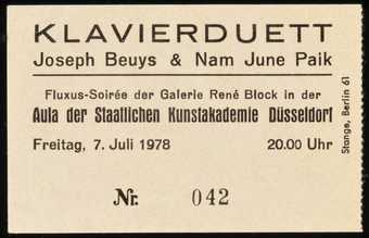 Admission ticket to a Fluxus concert with Beuys and Nam June Paik on July 7, 1978. This ticket...