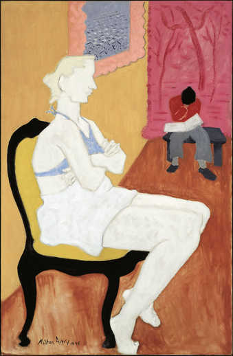 seated blonde foreground, male figure background