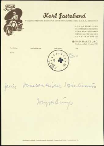 Written on old letterhead of Karl Fastabend, Beuys's colleague in the office of the...