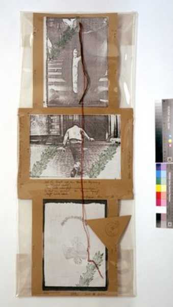 Three photocopies on cardboard, packed in transparent paper.  Two photographs are of the action...