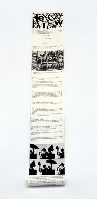 "Offset black on glossy white paper; printed both sides; rolled; a ""first Fluxus newspaper..."