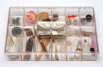18 compartment clear plastic box with hinged lid, label on lid with title and label on inside of...