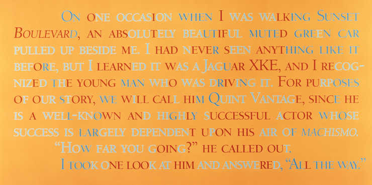 "Orange background with text printed in red and shades of light blue.  Text reads:  ""On one..."