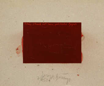 Postcard on gray cardboard, polished by Beuys with brown shoe polish, originated from postcard...