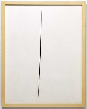 a white painting with a long, narrow, vertical slash.