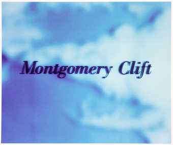names of movie stars in black lettering flaoting in the blue sky..1 Montgomery Clift.2 Sal...