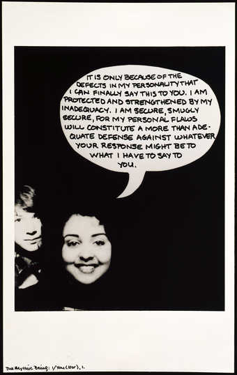 A repeated black-and-white image of two women with an added dialog balloon by the artist. ...