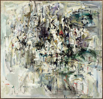 Abstract composition.  Layers of short gestural brushstrokes concentrated in the center of the...