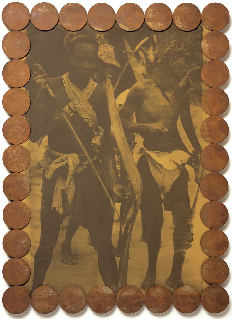An image of a small group of African men dressed in ethic warrior clothing, printed in grey on an...