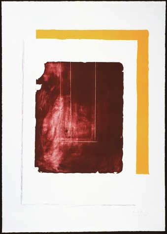 A lithograph from one stone and two aluminum plates printed in red, ochre, light purple