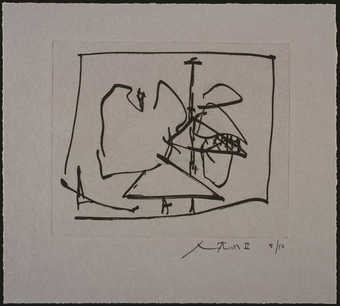 Lift-ground etching and aquatint from one copper plate printed in black.  The image is identical...