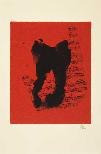 A lithograph from two aluminum paltes printed in black on handmade red Moriki paper.  This...