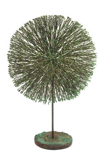 A bronze sculpture, constructed of bronze rods in a form similar to a dandellion seed head