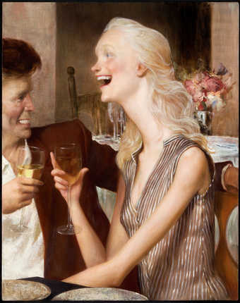 An image of a woman with an elongated neck and a man drinking wine in a restaurant.