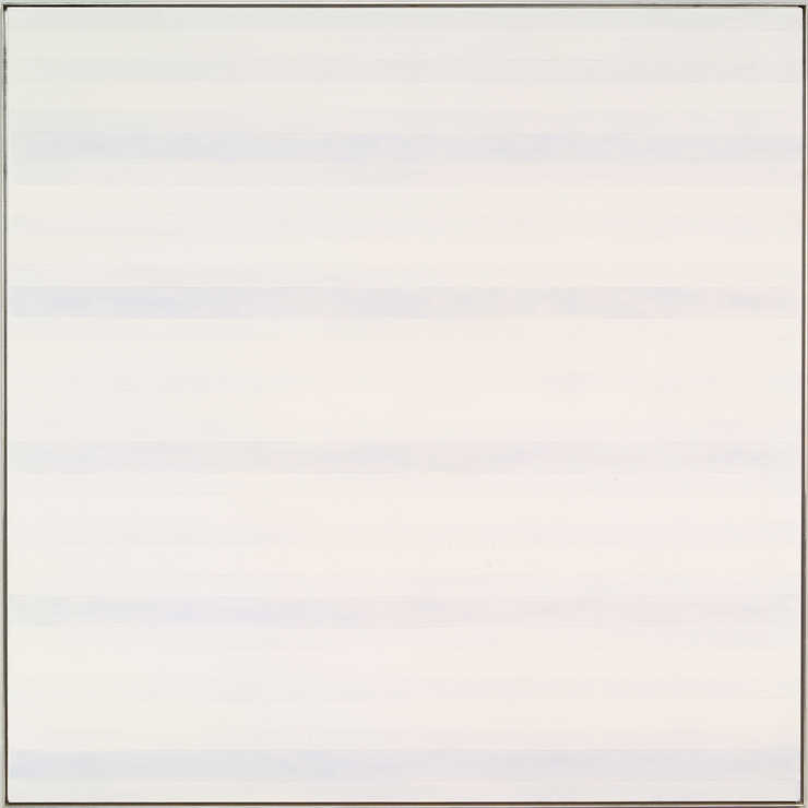 An image composed of alternating horizontal bands of white and pale blue.