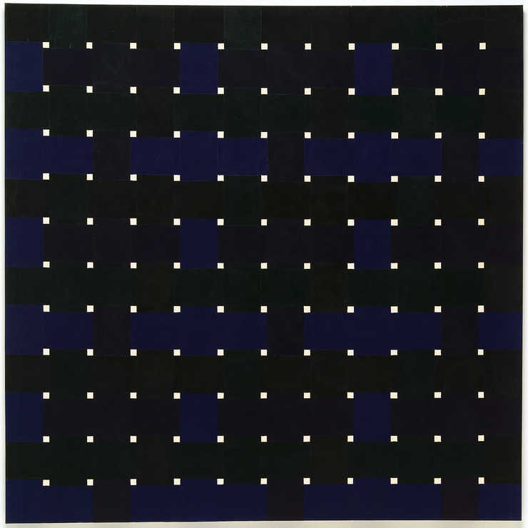 "grid composed of small (1"" x 1"") white squares.  In between white squares are..."