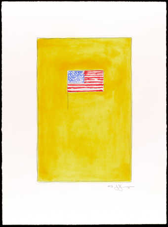 an image of an American flag (red, white, and blue) on an orange field.  An etching and aquatint...