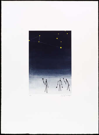 An image of stick figures under the night sky.  In the sky the constellation of Leo is...