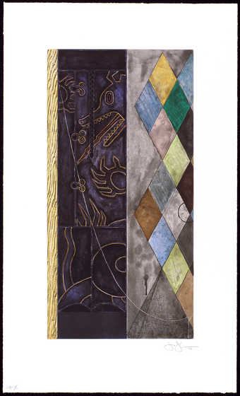 A  fourteen color intaglio with an image of a  harlequin pattern vertically through the print.